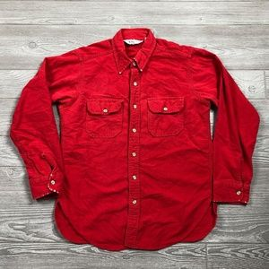 Woolrich Red Button Shirt 100% Cotton Men's M B7
